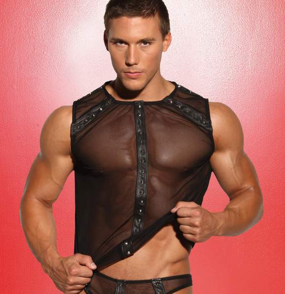 Allure Lingerie men's mesh top with studded leather | Ginger Candy
