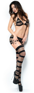 Chilirose seamless 3-piece fishnet set from Ginger Candy lingerie