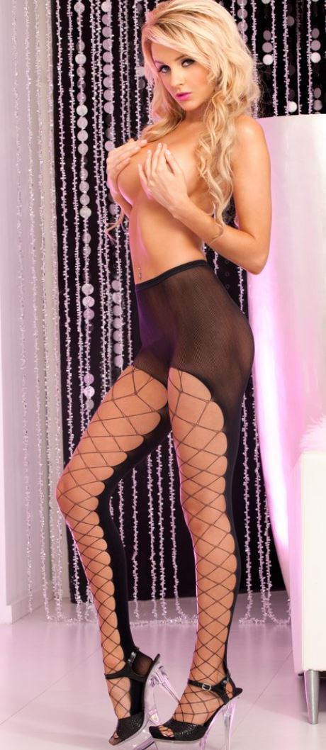 Pink Lipstick net front pantyhose from Ginger Candy lingerie