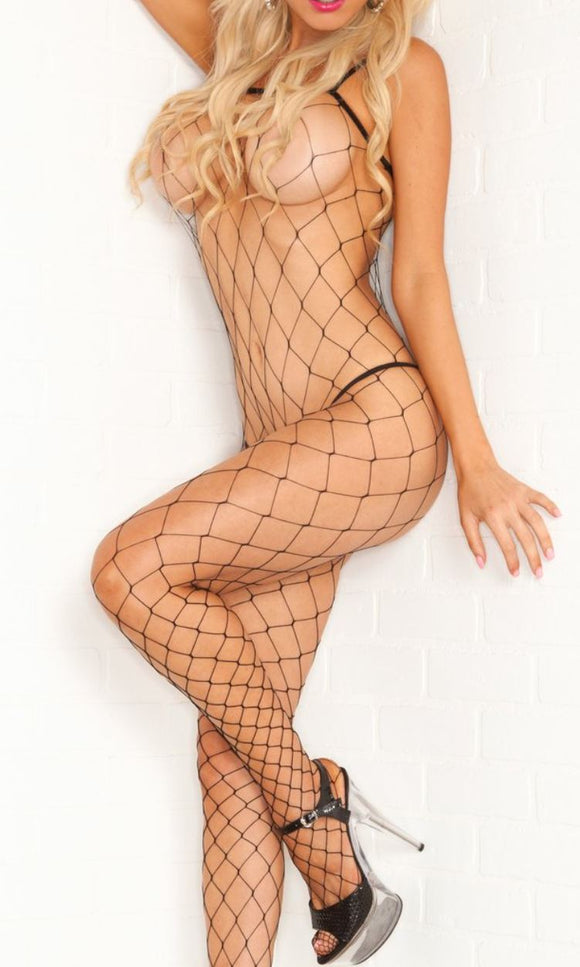 Pink Lipstick fence net bodystocking from Ginger Candy lingerie