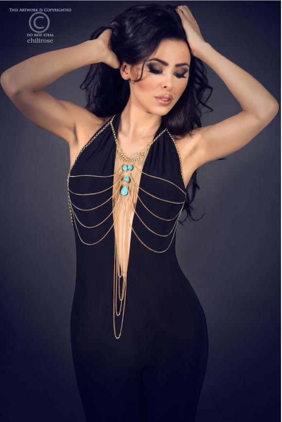 Chilirose body chain jewellery from Ginger Candy lingerie