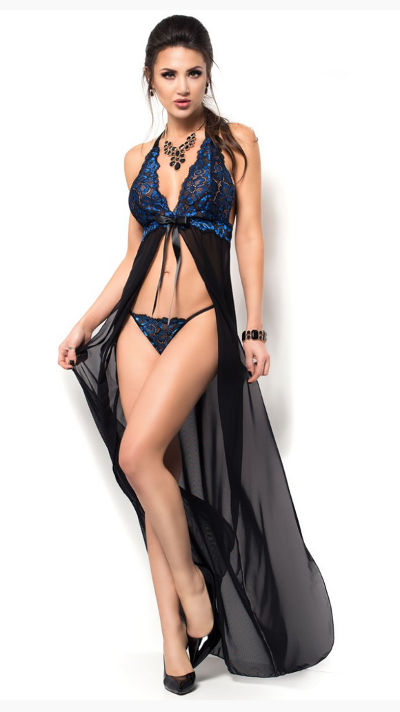 Chilirose long open gown from Ginger Candy lingerie