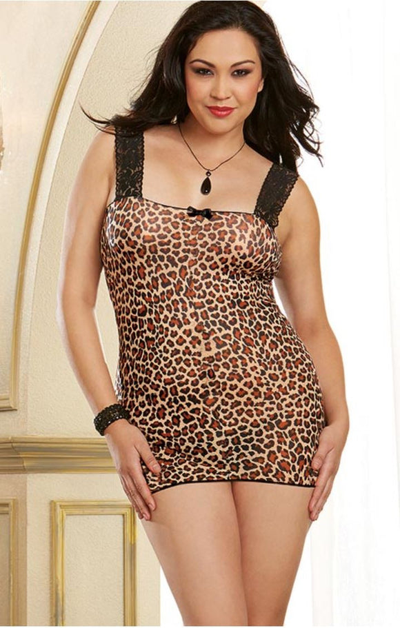 Dreamgirl leopard print chemise | Ginger Candy lingerie