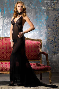 Chilirose long gown with train from Ginger Candy lingerie