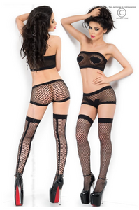 Chilirose fishnet set with stockings from Ginger Candy lingerie