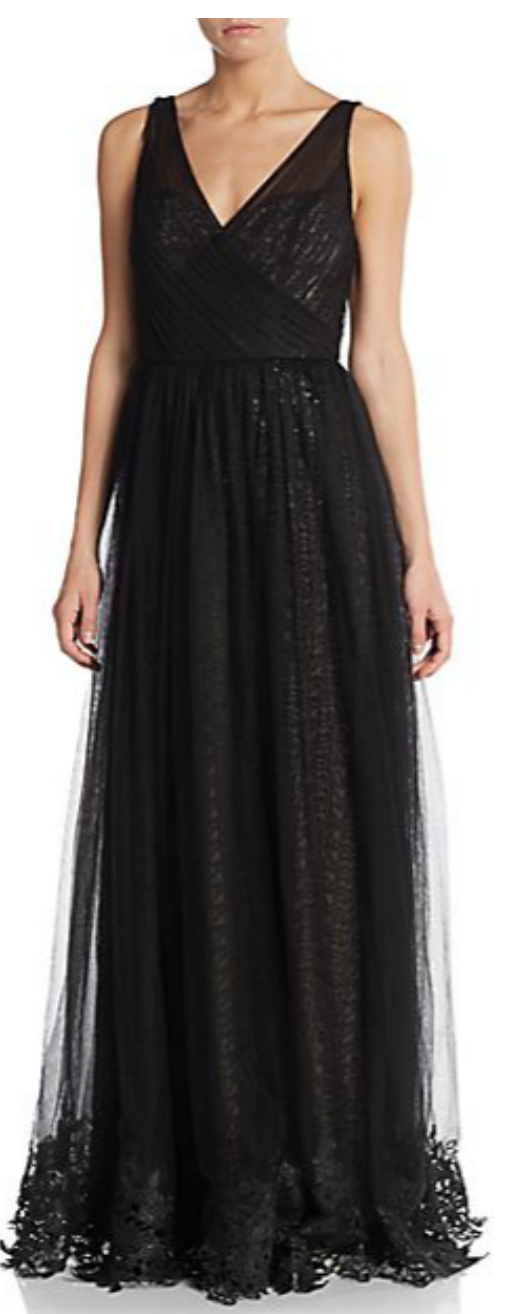 Monique Lhuillier pleated lace-trimmed gown | Ginger Candy