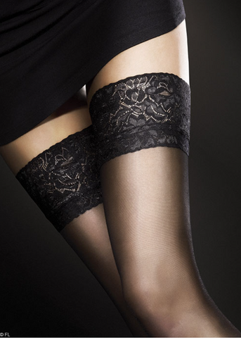 Fiore Milena hold up stockings from Ginger Candy