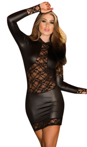 Leather-look bodycon dress in black from Ginger Candy