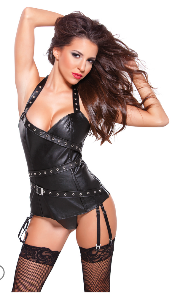 Allure Lingerie faux leather halter corset from Ginger Candy