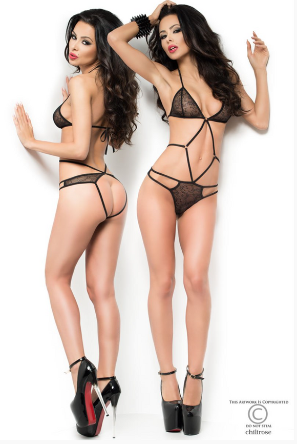 Chilirose strappy lace body set from Ginger Candy lingerie