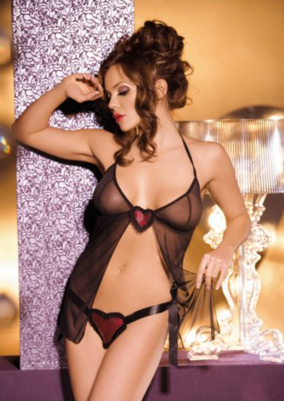 Babydoll lingerie in black with red from Ginger Candy