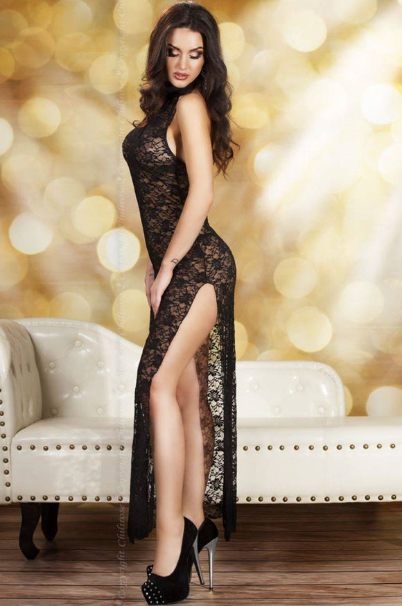 Chilirose long lace gown from Ginger Candy lingerie