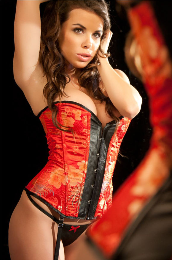 Allure Lingerie leather and brocade corset Ginger Candy lingerie