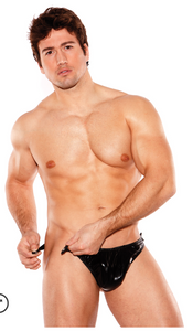 Allure Lingerie men's wet look tear-away thong from Ginger Candy