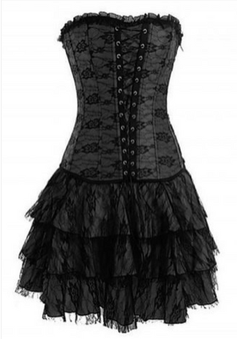 Corset bustier lingerie dress in black from Ginger Candy