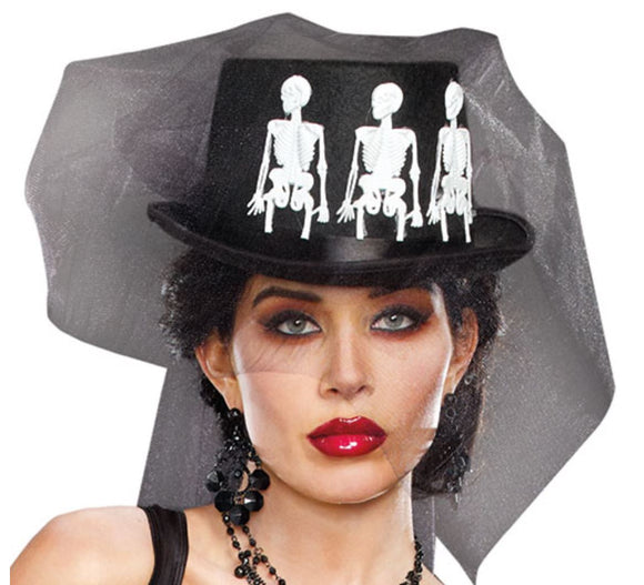 "Dreamgirl ""Ms Bones"" top hat from Ginger Candy lingerie"