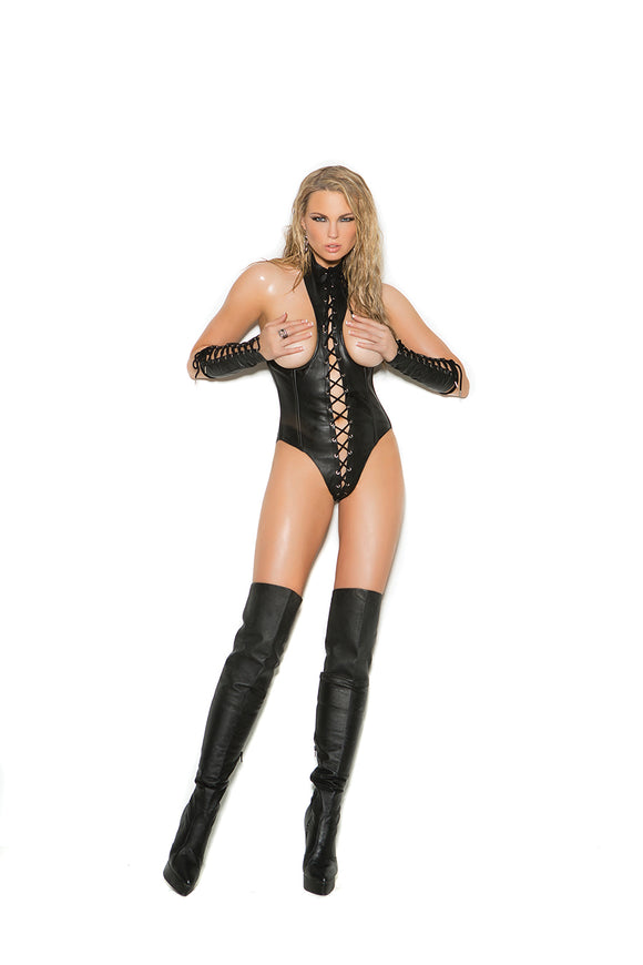 Elegant Moments leather cupless teddy from Ginger Candy lingerie