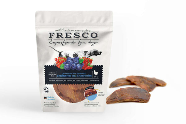 Fresco Hundesnack I Chicken blueberries I 100g - Vimedpoter.dk