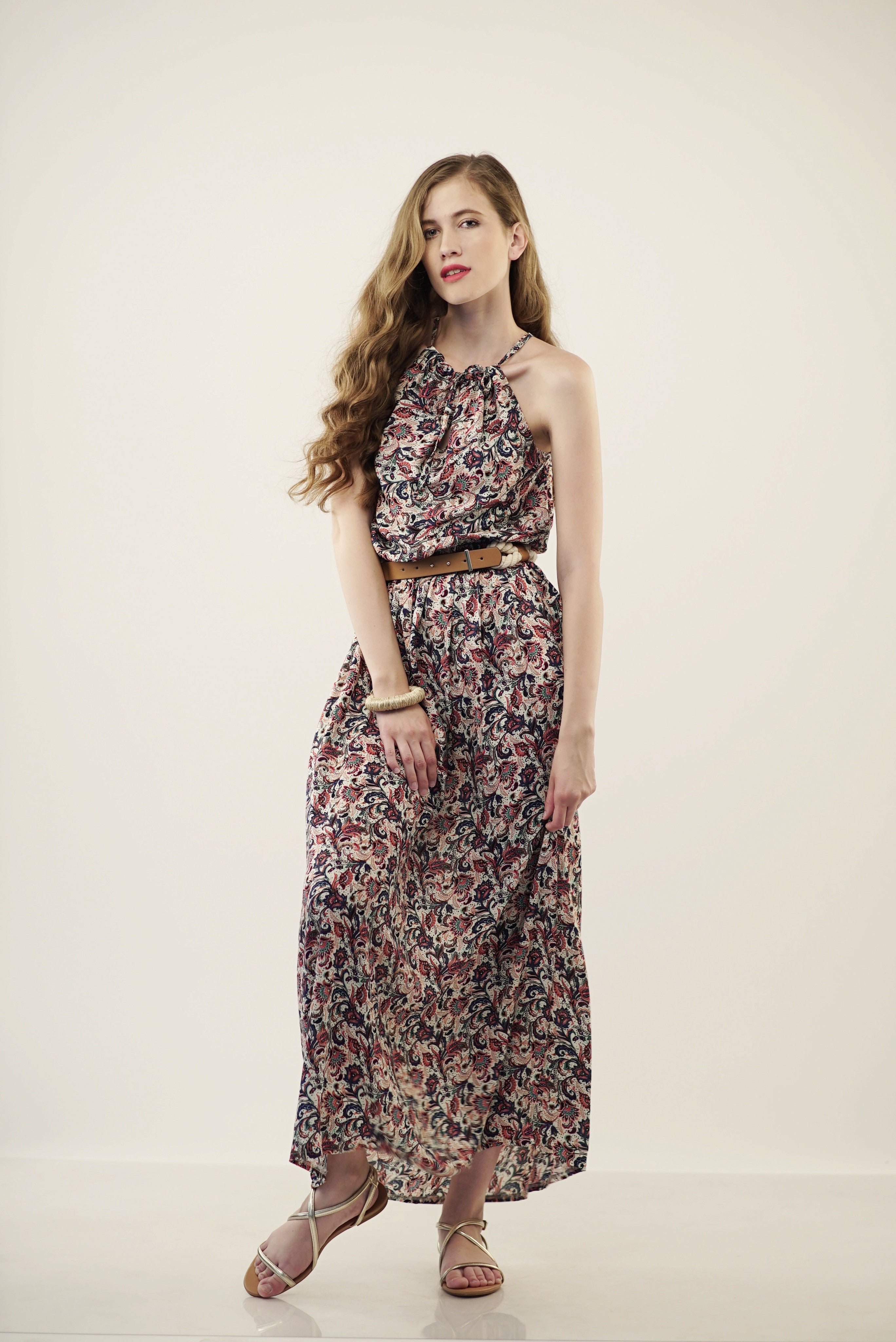 ADORA turkish patterned maxi dress in red - WisEDress