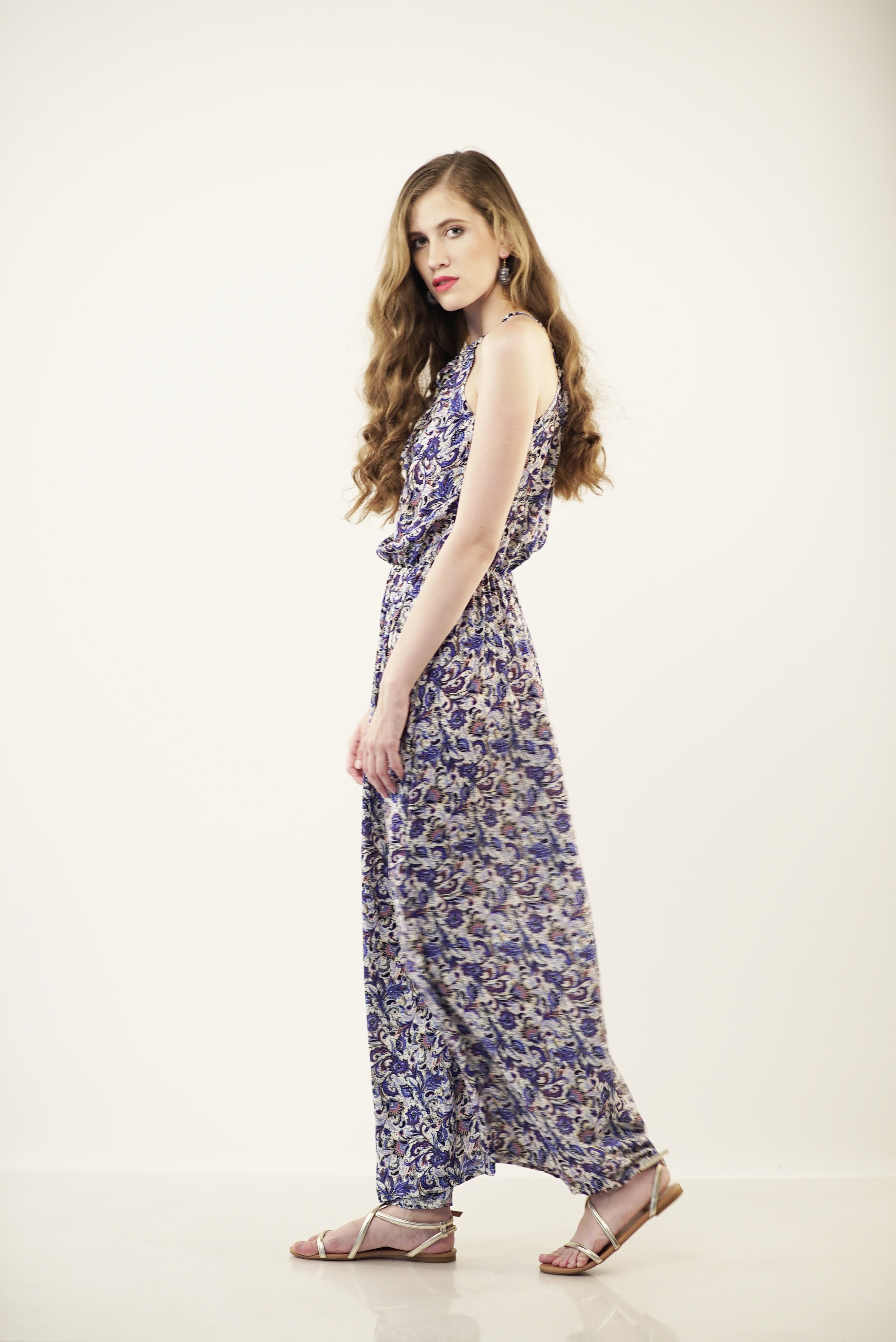 ADORA turkish patterned maxi dress in blue - WisEDress