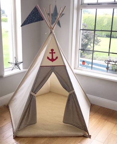 teepee with nautical stripes