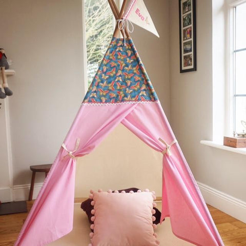 Teepee tent with butterfly fabric