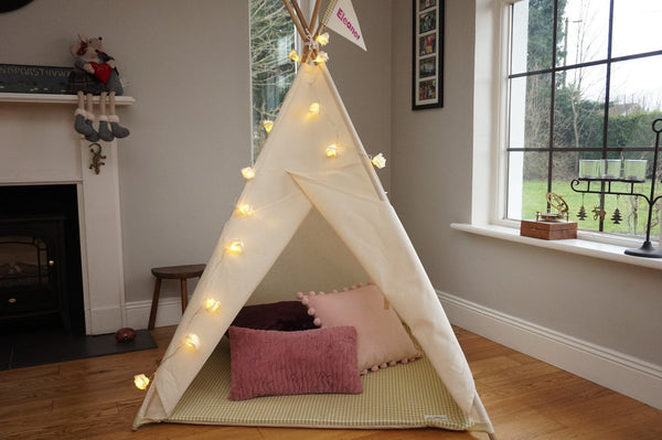 Plain teepee tent with lights