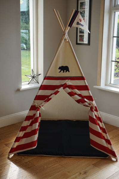Bear teepee with red striped doors