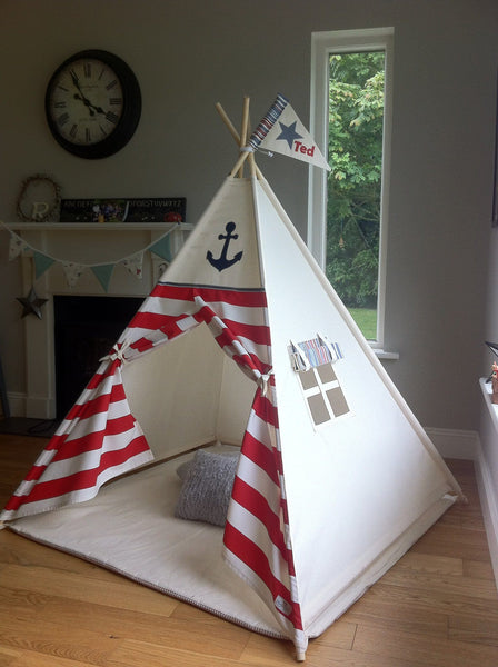 The 'Ahoy Matey Red' Teepee. Handcrafted in Ireland by Maple and Spud Designs.