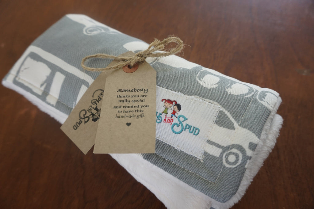 grey white care and truck minky blanket