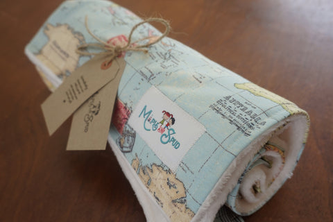Minky Vintage Map Baby / Toddler Blanket