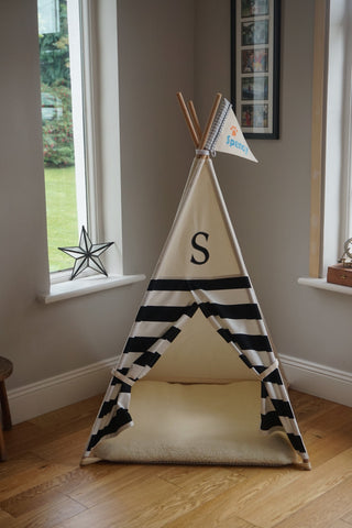pet teepee with monogram