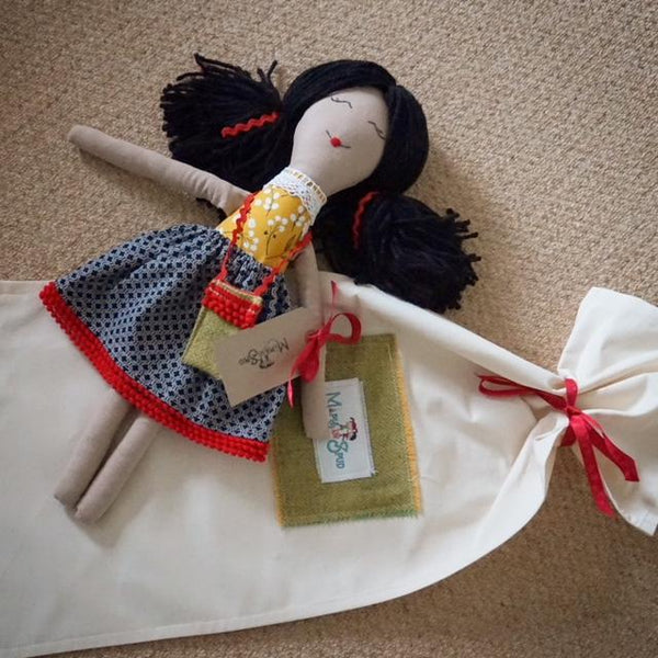 rag doll with gift bag