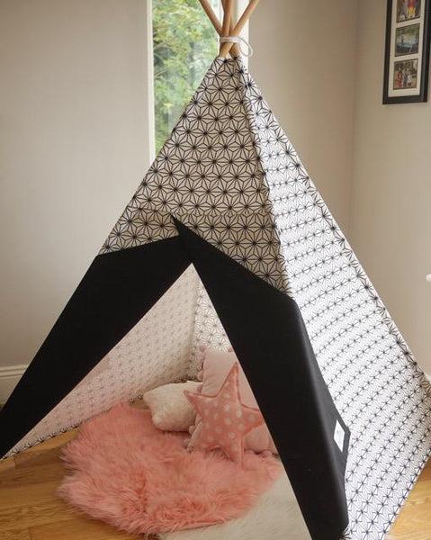 Scandi style Teepee with black and white fabric