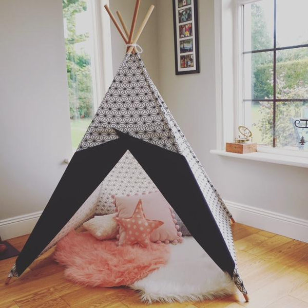 Black and white scandi style teepee