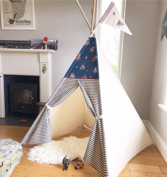 childs teepee tent with rocket ship fabric
