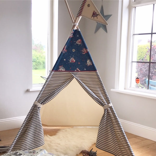 teepee tent for kids with rocket ships