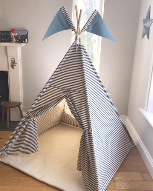 childs teepee tent with stripes