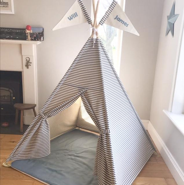 kids teepee tent blue stripes