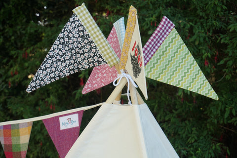 Colourful teepee flags