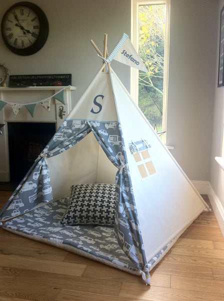 teepee tent with car and truck fabric