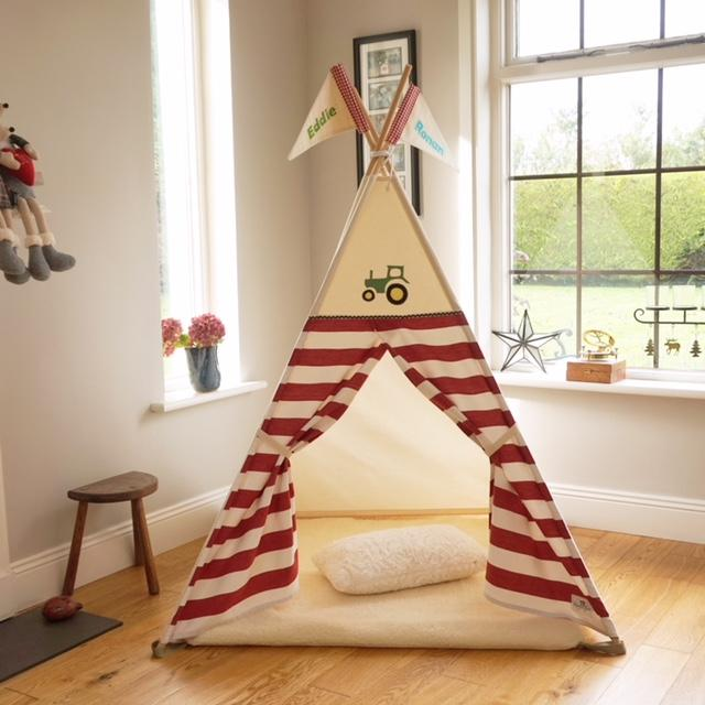 stripe teepee tent with tractor applique