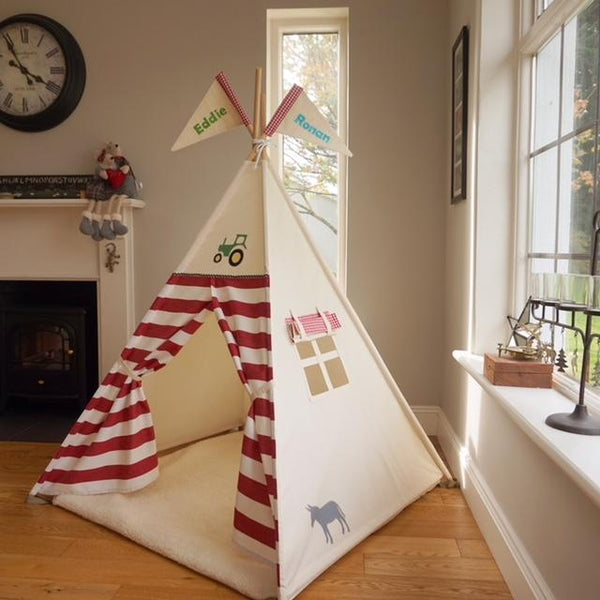 teepee for kids with tractor design and stripes