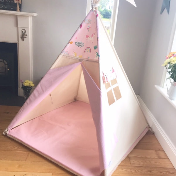 Teepee Tent with Unicorns and Rainbows
