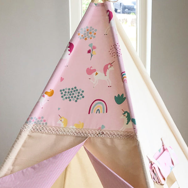 kids teepee with unicorns and rainbows