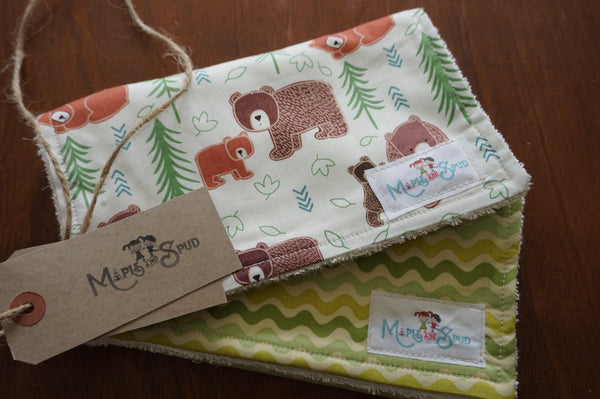 burp cloth with bear fabric