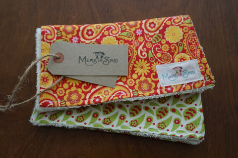 Colourful organic burp cloths