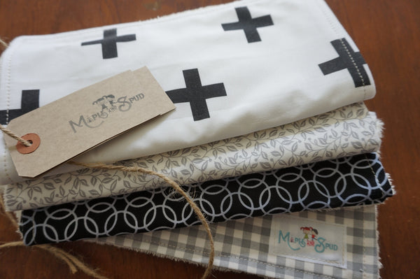 Grey and black burp cloths