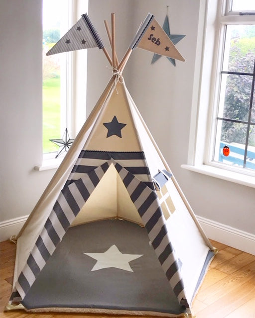 star and stripe teepee grey and blue 5 sided