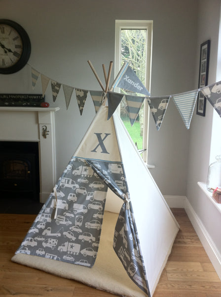childrens teepee with car fabric
